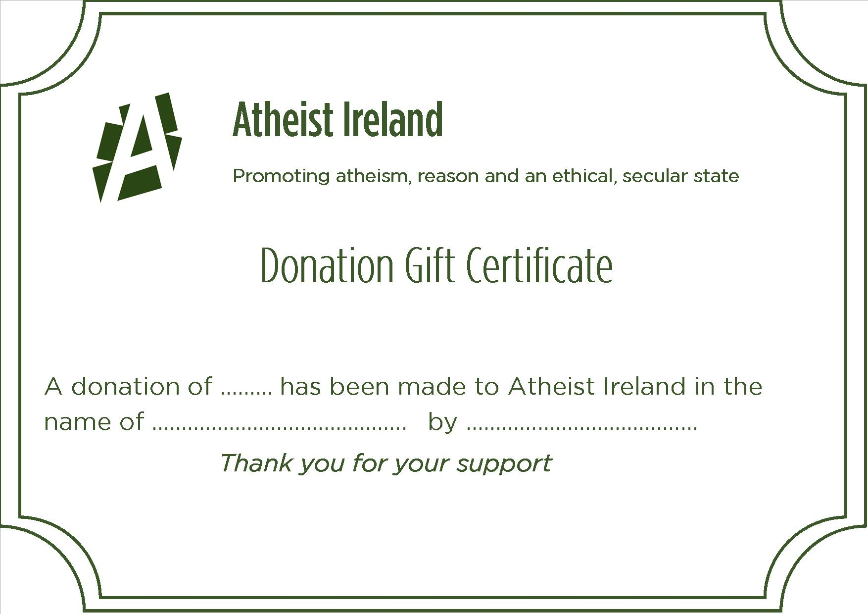 Honour Donation And Gift Certificate Promoting Atheism Reason And
